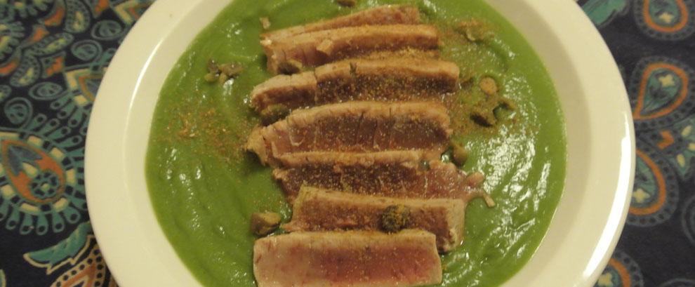 Crema di broccoli con tagliata di tonno